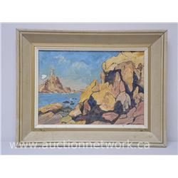 'Owen Gurney' Original Oil Painting 'Rocks at Corbiose Bay' September 1965 - 10x14 Canvas Panel. 'Ha