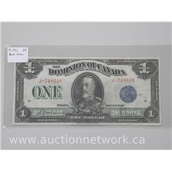 Dominion of Canada Blue Seal One Dollar Banknote. (VF)