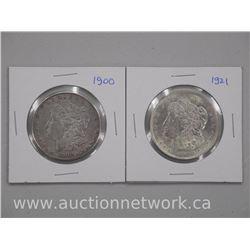 2x USA Silver Morgan Dollar Coins 1921 (AU+) and 1900 (AU+) (ATTN: 2 Times the bid price)