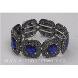 Ladies (HG) Flex Cuff Bracelet with 456 Swarovski Elements. Antique Finish. SRRV: $350.00