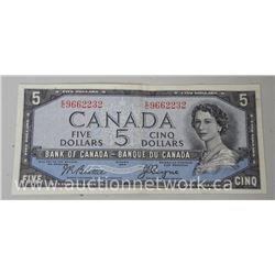 Bank of Canada 1954 Five Dollar Note (MXR) Devil Face (AU)