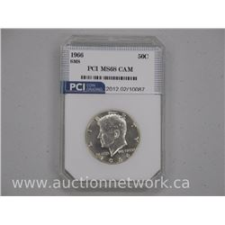 1966 USA Silver Kennedy 50 Cent Coin: MS68 DCAM US CAT: $180.00. 'PCI'