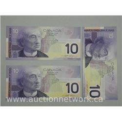 3x 2001 Bank of Canada Ten Dollar Notes 'Uncirculated' (IE) (ATTN: 3 Times the bid price)