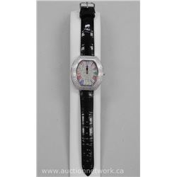 Ladies Custom Watch with Pave Set Swarovski Elements on Face and Dial (Leather band) MSR- $799.00