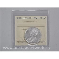 1919C NFLD - Silver Fifty Cent Coin (AR) (EF-45) 'ICCS'