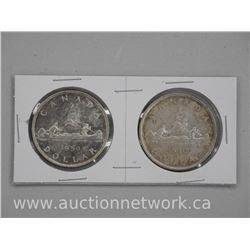 "2 x 1950 Canada Silver Dollars. ""Arnpiror and Regular"" (ATTN: 2 times the bid price)"