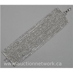 Ladies Chic Multi Chain Tennis Style Wide Bracelet