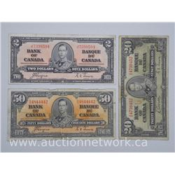 Lot of 3 - 1937 Notes: Two Dollar Note, Twenty Dollar Note, Fifty Dollar Note. 2 Signature Sets