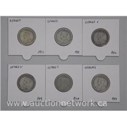 6x George V Silver 25 Cent Coins. Early 1900s (ATTN: 6 Times the bid price)