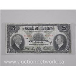 'Bank of Montreal' 1931 Ten Dollar Chartered Note (VF) Hand Signatures.