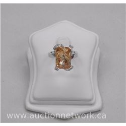 Ladies Custom Ring with Emerald Cut Swarovski Elements - 9.00ct. and 8 Swarovski Elements Around. Si
