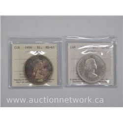 2x Canada Silver Dollar Coins (1958 and 1959) (CR) MS62 and MS63 'ICCS' (ATN: 2 Times the bid price)
