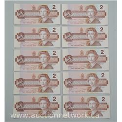 10x Uncirculated 1986 Two Dollar Note (9 in sequence) (ATTN: 10 Times the bid price)