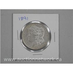 1891 USA Silver Morgan Dollar.
