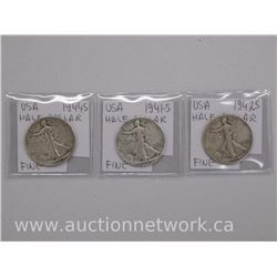 3x USA Half Dollar Coins. 1941-S, 1942S, 1944S. Fine (ATTN: 3 Times the bid price)