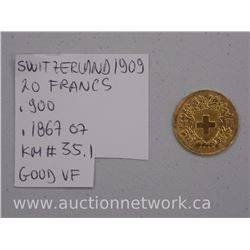 Switzerland 1909 20 Francs 22kt Gold (Good-VF)
