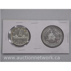 2x Canada Silver Dollar Coins: 1955 and 1975 (ATTN: 2 Times the bid price)