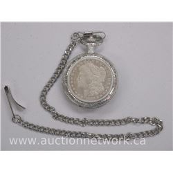 1887 Silver Morgan Dollar on USA Eagle Pocket Watch with Fob