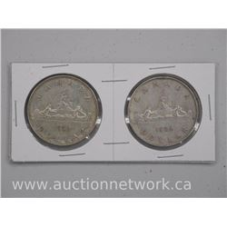 2x 1952 Canada Silver Dollar Coins Waterline and No Waterline (ATTN: 2 Times the bid price)
