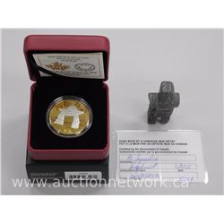 Royal Canadian Mint .9999 Fine Silver with 24kt Gold Overlay 'Inukshuk' and Original Stone Carving o