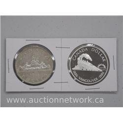 2x Canada Silver Dollar Coins: 1956-1986 (ATTN: 2 Times the bid price)