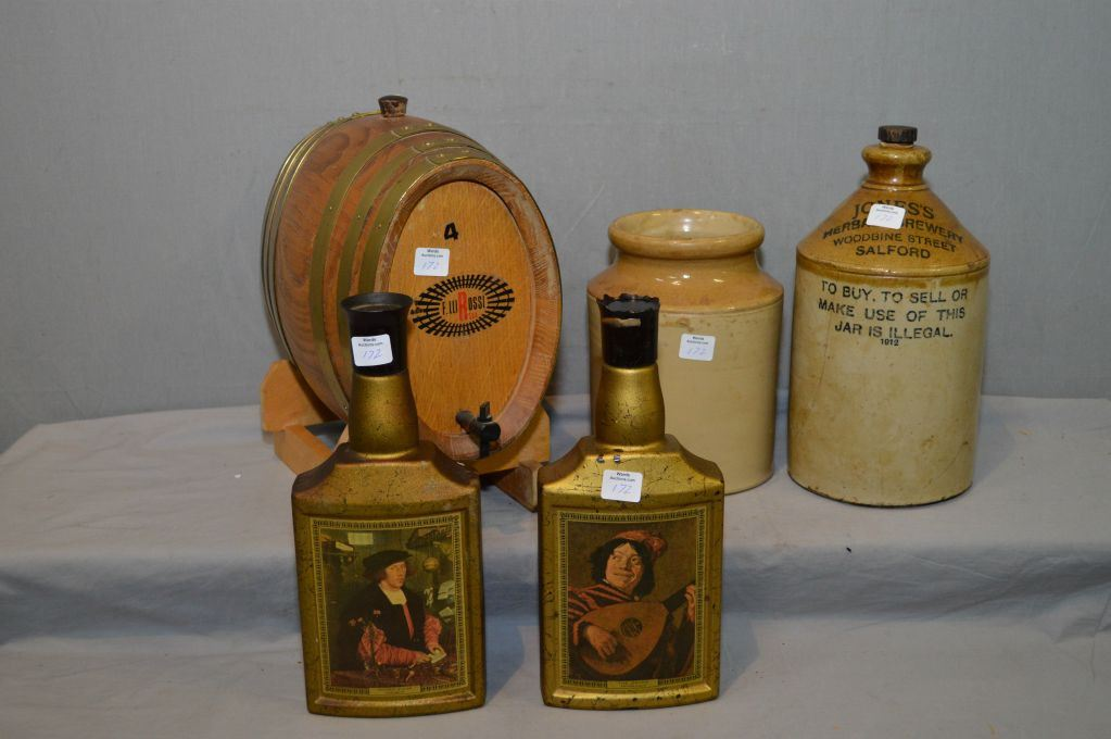 Selection Of Collectible Bar Items Including Small Wooden Cask With