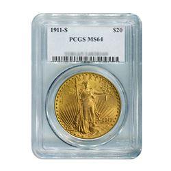1911-S $20 Saint Gaudens PCGS MS64