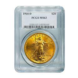 1914-D $20 Saint Gaudens PCGS MS63