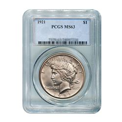 1921 $1 Peace Silver Dollar - PCGS MS63