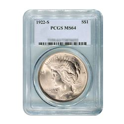 1922-S $1 Peace Silver Dollar - PCGS MS64
