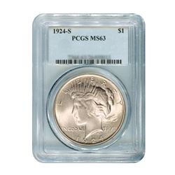 1924-S $1 Peace Silver Dollar - PCGS MS63