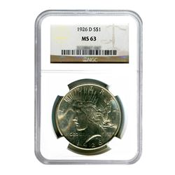 1926-D $1 Peace Silver Dollar - NGC MS63