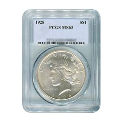 1928 $1 Peace Silver Dollar - PCGS MS63