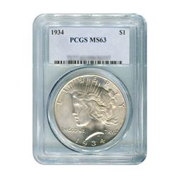 1934 $1 Peace Silver Dollar - PCGS MS63