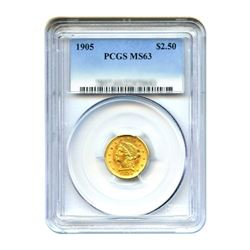 1905 $2.50 Liberty GOLD Quarter Eagle PCGS MS63