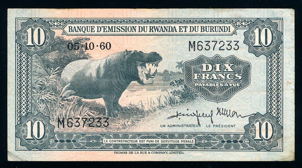 Rwanda Burundi 10 Francs 1960