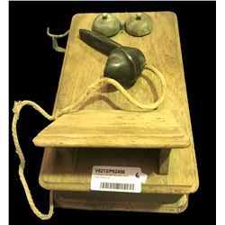 * Antique Oak Wall Mounted Crank Style Telephone (A/F)