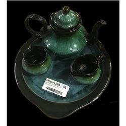 * Blue Mountain Pottery Tray with Teapot, Sugar & Creamer