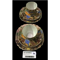 * Pair of Early Satsuma Japanese Cup Saucer & Plate Sets