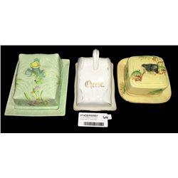 * Three Vintage China Cheese Keeper Dish Inc. Melba Ware