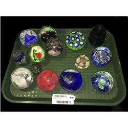 * Tray Lot - Assorted Glass Paper Weights Inc. Millefiori