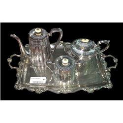 * Victorian Bone Handled Tea & Coffee Set on Tray