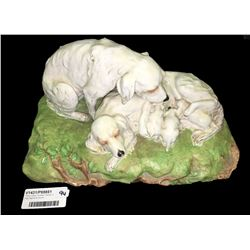 * Early Italian Porcelain Display of Dogs Signed by Gourie