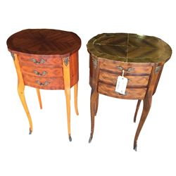 * Two Burr Walnut Lamp Tables with Drawer
