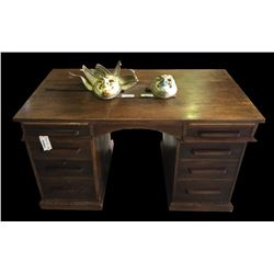 * Antique Solid Oak Eight Drawer Executive Desk
