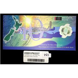 * NZ Millennium Ten Dollar Red NZ00 Bank Note in Booklet