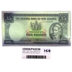 * 1966 - 1967 New Zealand Five Pound Bank Note Fleming (AU)