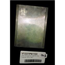* 1934 Sterling Silver Cigarette Case Engraved TGB (174gm)