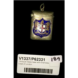 * Antique Vesta Case with Enamelled Crest of London