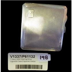* Deco 1930 Sterling Silver Cigarette Case Engraved Gladys